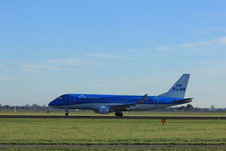 Amsterdam the Netherlands - January 7th 2018: PH-EXJ KLM Cityhopper Embraer ERJ-175 takeoff from Polderbaan runway.
