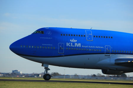 Amsterdam the Netherlands - January 7th 2018: PH-BFY KLM Royal Dutch Airlines Boeing 747-400M takeoff from Polderbaan runway.
