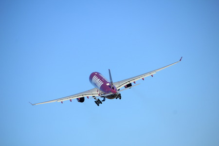 Amsterdam the Netherlands - January 7th 2018: TF-WOW WOW air Airbus A330-300 takeoff from Polderbaan runway.