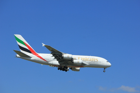 Amsterdam the Netherlands - July 9th 2017: A6-EUA Emirates Airbus A380-800 approaching Schiphol Amsterdam Airport Kaagbaan runway Editorial