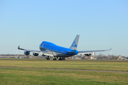 Amsterdam the Netherlands - January 7th 2018: PH-BFC KLM Royal Dutch Airlines Boeing 747-400M takeoff from Polderbaan runway. Editorial