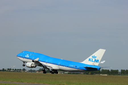 Amsterdam, the Netherlands  -  June 2nd, 2017: PH-BFR KLM Royal Dutch Airlines Boeing 747-400M taking off from Polderbaan Runway Amsterdam Airport Schiphol Editorial
