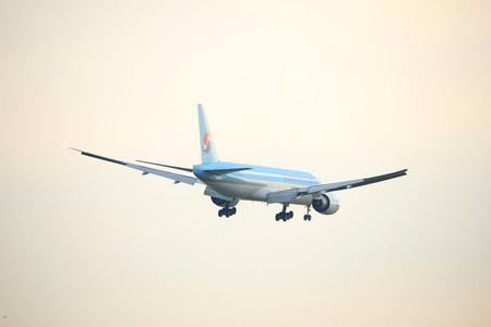 Amsterdam the Netherlands - January 14th 2018: HL8075 Korean Air Lines Boeing 777F approaching Schiphol Amsterdam Airport Polderbaan runway Editorial