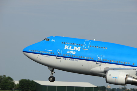 Amsterdam, the Netherlands  -  June 2nd, 2017: PH-BFY KLM Royal Dutch Airlines Boeing 747-406 taking off from Polderbaan Runway Amsterdam Airport Schiphol Editorial