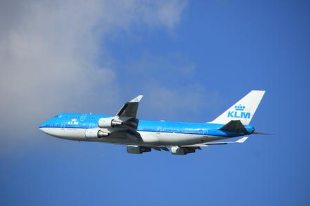 Amsterdam Nederland - 23 September 2017: PH-BFI Klm Royal Dutch Airlines Boeing 747 opstijgen vanaf de Kaagbaan, Amsterdam Airport Schiphol