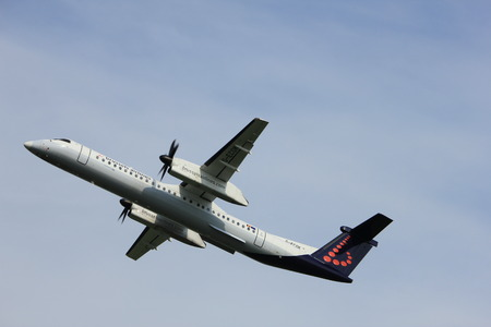 Amsterdam, the Netherlands  -  June 2nd, 2017: G-ECOK Brussels Airlines De Havilland Canada DHC-8 taking off from Polderbaan Runway Amsterdam Airport Schiphol