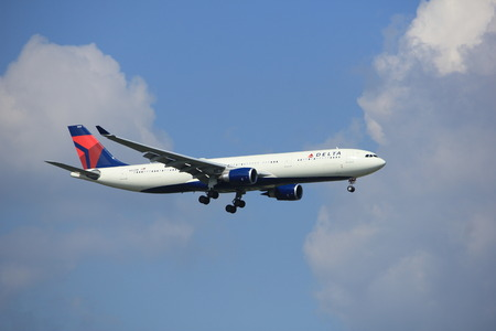 Amsterdam the Netherlands - August 27th 2017: N822NW Delta Air Lines Airbus A330-300 approaching Schiphol Amsterdam Airport Kaagbaan runway