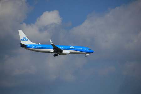 Amsterdam the Netherlands - August 27th 2017: PH-HSE KLM Royal Dutch Airlines Boeing 737-800 approaching Schiphol Amsterdam Airport Kaagbaan runway Editorial