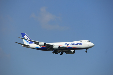 Amsterdam the Netherlands - August 27th 2017: JA15KZ Nippon Cargo Airlines Boeing 747-8F approaching Schiphol Amsterdam Airport Kaagbaan runway