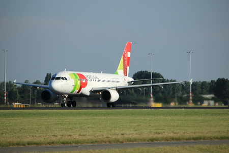Amsterdam, the Netherlands  - August, 18th 2016: CS-TTI TAP - Air Portugal Airbus A319,  taking off from Polderbaan Runway Amsterdam Airport Schiphol Editorial
