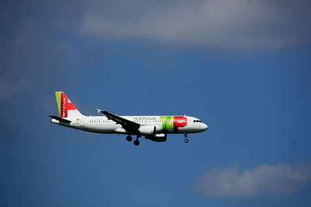 Amsterdam the Netherlands - August 27th 2017: CS-TNV TAP - Air Portugal Airbus A320-200 approaching Schiphol Amsterdam Airport Kaagbaan runway