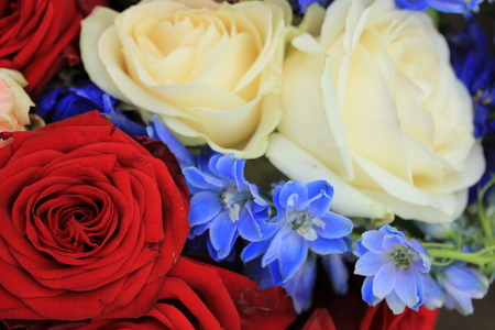 Red white and blue wedding flowers for a patriotic themed wedding
