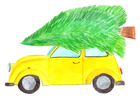 Vintage yellow car with christmas tree on roof 写真素材