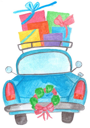 Handpainted  car with gifts on roof rack and wreath