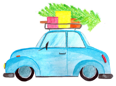 Handpainted  car with gifts and tree on roof Stock Photo