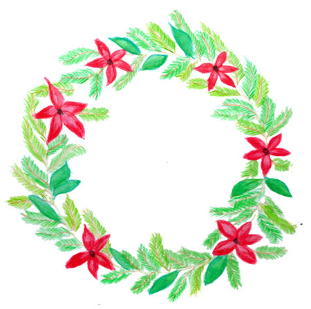 Handpainted  christmas wreath with red poinsettia