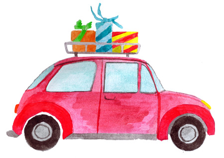Handpainted  car with gifts on roof Stock Photo