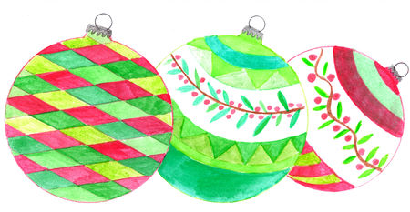 Group of handpainted  Christmas baubles in green and red