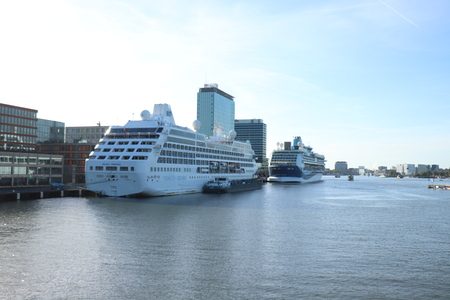 Amsterdam, The Netherlands - September 29th 2018: Marella Discovery and Pacific Princess docked at Passenger Terminal Amsterdam