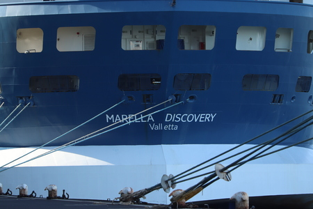Amsterdam, The Netherlands - September 29th 2018: Marella Discovery docked at Passenger Terminal Amsterdam, operated by TUI group, formerly Splendour of the Seas. Editorial