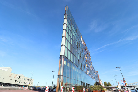 Amsterdam, the Netherlands - september 29th 2018: Hotel Jakarta exterior. Hotel Jakarta is a sustainably built luxurious hotel near the Amsterdam city centre, opened in spring 2018 Editorial