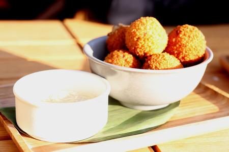 Bitterballen with mustard, warm fried snack, served in the Netherlands
