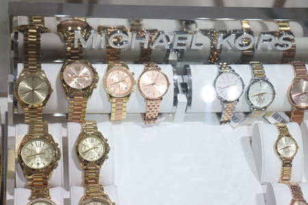 Haarlem, The Netherlands - October 6th 2018: Michael Kors watches in a shop window. Michael Kors is an American sportswear fashion designer.