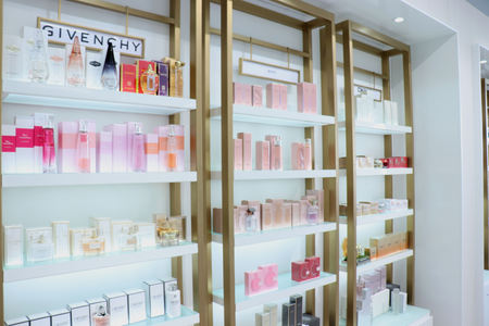 Haarlem, the Netherlands - October 6th 2018: Fragrances on display in a luxurious department store 報道画像