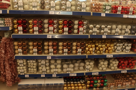 IJmuiden, the Netherlands - October 14th 2018: Christmas decorations in a discount shop