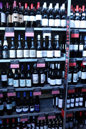 Haarlem, the Netherlands, October 6th 2018: Biological wines in a sustainable grocery shop. Product information in Dutch, prices in euro