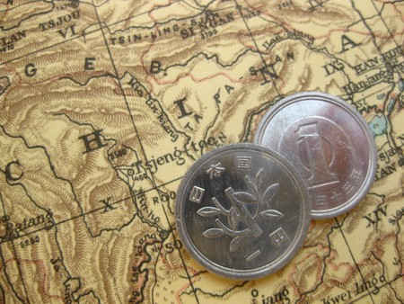 Coin on vintage map: China Editoriali