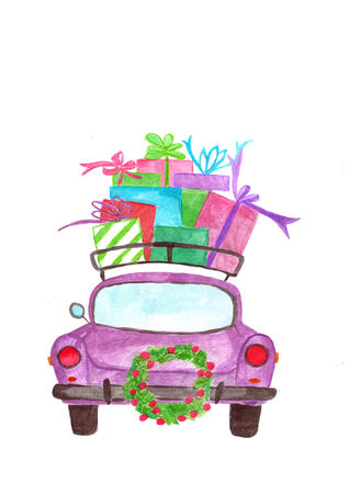 Hand painted purple Watercolor car with gifts on roof