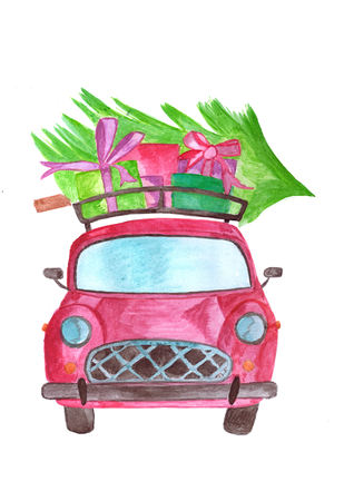 Handpainted Watercolor car with gifts and tree on roof