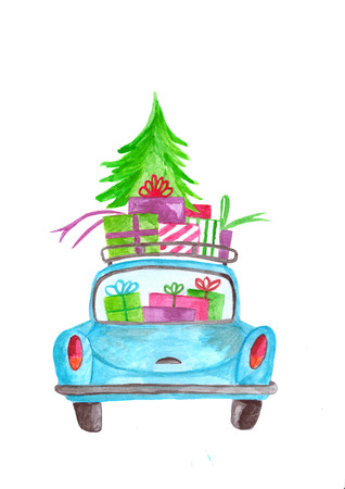 Hand painted Watercolor car with gifts and tree on roof