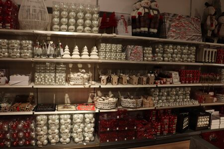 Cruquius, the Netherlands - October 26th 2018: Christmas decorations in white and red in an interior decoration shop
