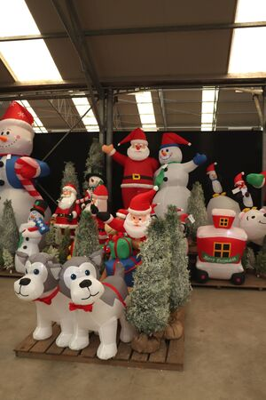 Aalsmeer, the Netherlands - November 7th 2018: Inflatable Christmas decorations in an interior decoration shop