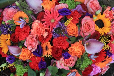 Colorful flowers in a big mixed bouquet Stock Photo