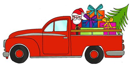 Hand drawn pick up truck with christmas gifts  on roof