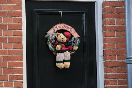 Merry Christmas decoration on front door