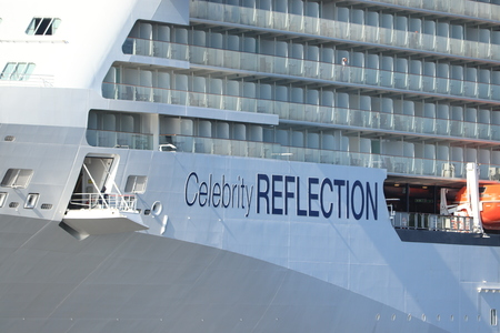 Velsen, The Netherlands - July 20th 2019 Celebrity Reflection operated by Celebrity Cruises on North Sea Canal Redakční