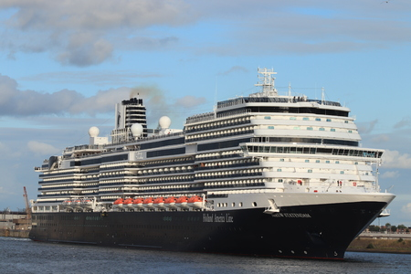 Ijmuiden, The Netherlands - July 7th 2019: MS Nieuw Statendam operated by Holland America Line in North Sea sealock, towards North Sea Redakční