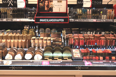 Assen, the Netherlands, July 27th 2019: various cosmetic Max Factor products on display in a big drugstore Redakční