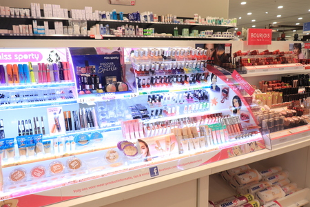 Assen, the Netherlands, July 27th 2019: various cosmetic products on display in a big drugstore