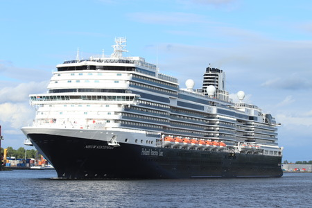 Velsen, The Netherlands - July 7th 2019: MS Nieuw Statendam operated by Holland America Line on North Sea Canal