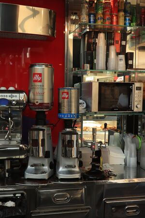 Barcelona, Spain - september 29th 2019: Coffee shop in Maremagnum shopping mall in Barcelona. Professional coffee equipment