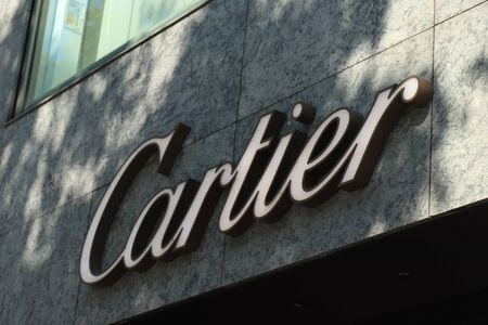 Barcelona, Spain - september 29th, 2019: Cartier Store in Passeig de Gracia, Barcelona. Big branding on the facade Redakční
