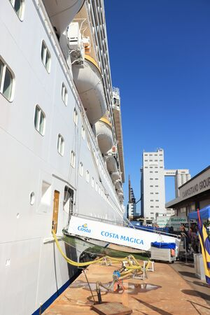 Savona, Italy - September, 26th 2019: Costa Magica, moored at the cruise terminal in Savona. Embarkation of passengers