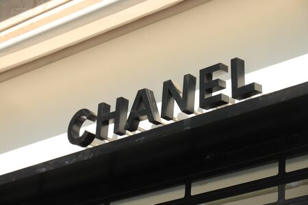 Barcelona, Spain - september 29th, 2019:  Chanel Store in Passeig de Gracia, big branding on the facade Redakční