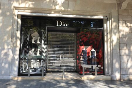 Barcelona, Spain - september 29th, 2019:  Dior Store in Passeig de Gracia, big branding on the facade