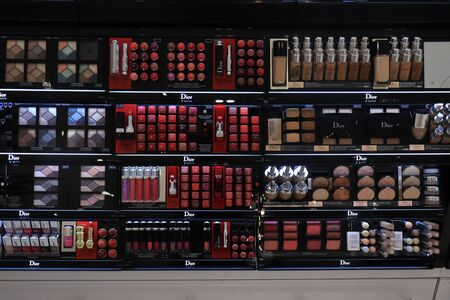 Amsterdam Schiphol Airport, the Netherlands - september 24th, 2019: Dior cosmetics in an airport shopping area store